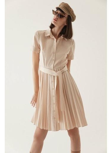 Rue Kuşaklı Midi Gömlek Elbise Bej